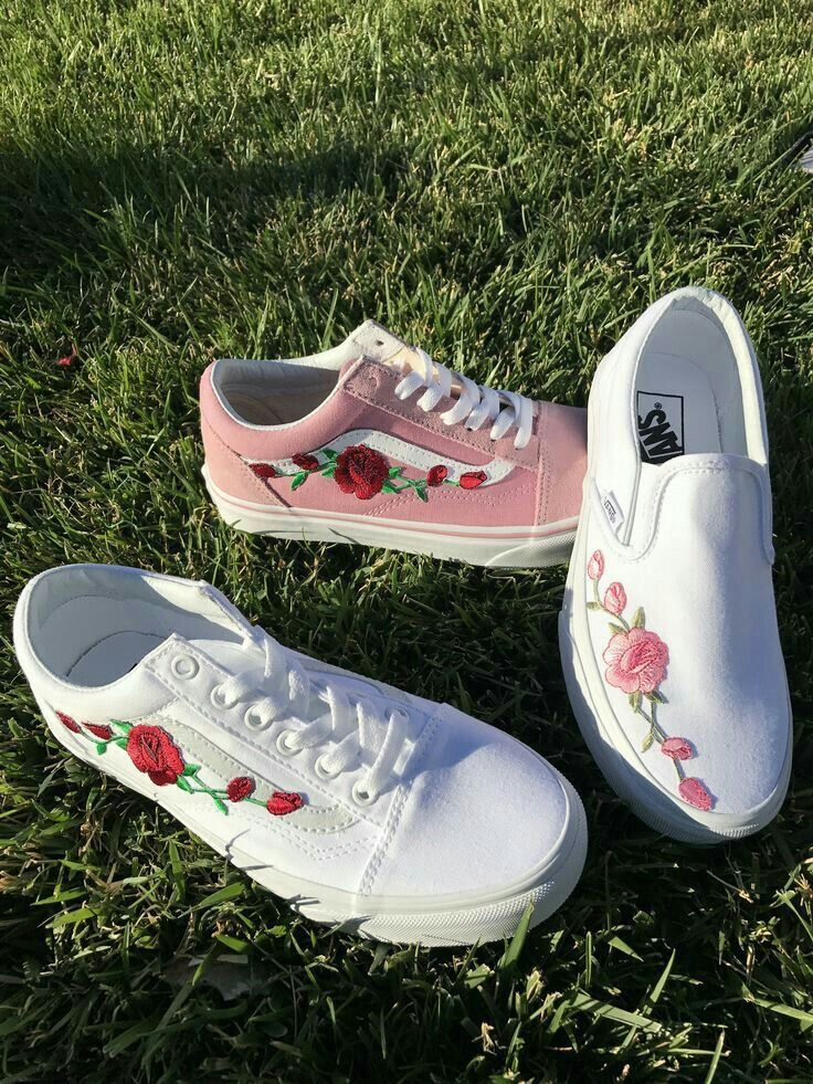 71646fc4308 Vans Old Skool Custom - Big  Rose Patch  - EUR 34.5 - 47 Unisex - White  Rosen Stickerei Sk8 Hi Sneaker Tommy Hilfiger Ralph Lauren Gucci