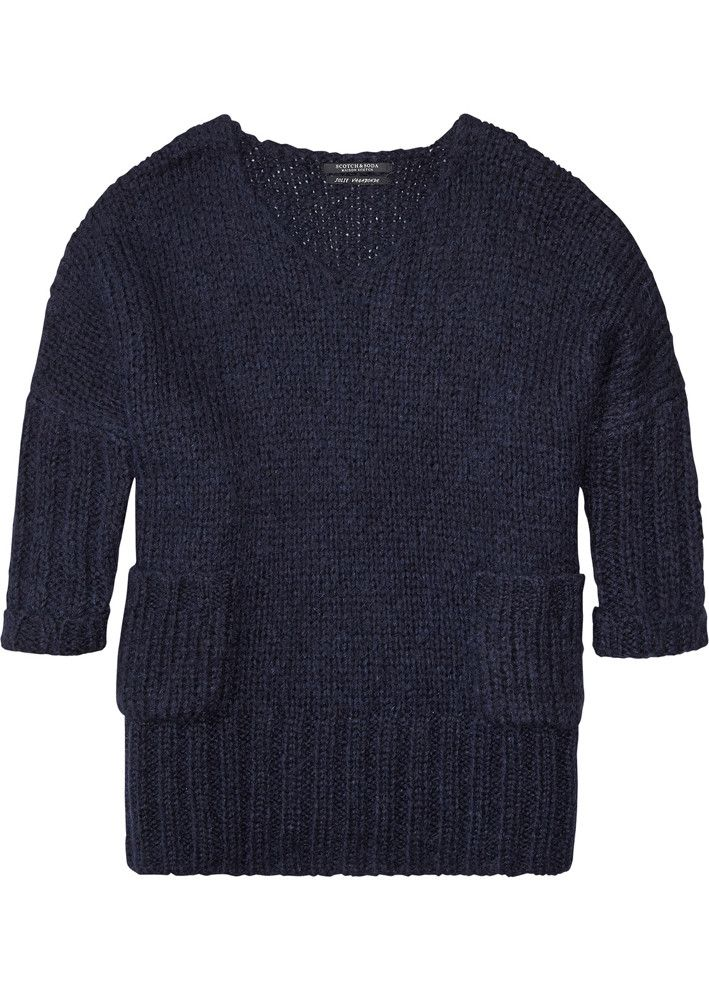 Maison Scotch Sweater mørkeblå 134012 Oversized V-Neck Pullover - navy – Acorns