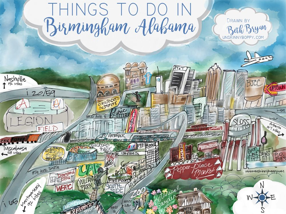 Fun Cartoon Map of Birmingham, Alabama landmarks drawn by Beth Bryan | www.unskinnyboppy.com ...