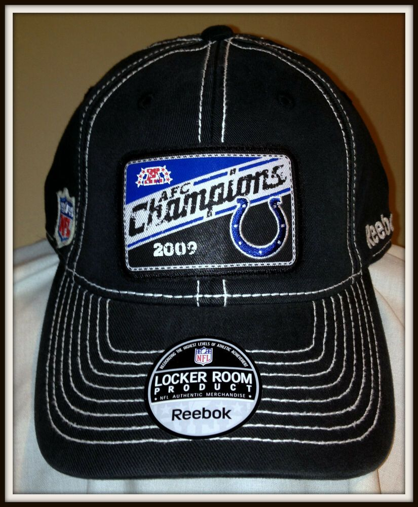 c1f0ae5f5fe 2009 INDIANAPOLIS COLTS REEBOK AFC CHAMPIONS LOCKER ROOM CAP FREE SHIPPING   Reebok  IndianapolisColts