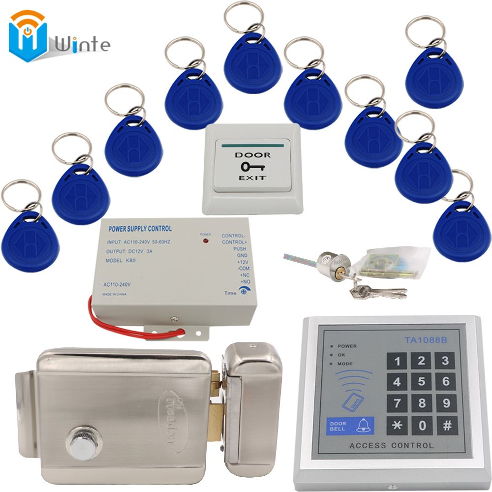 Access Control Door System Diy Kit Rfid Card Reader Keychain Rfid Card Power Supply Electric Lock Exit Switch Button Winte Aff Brelok Karta Signalizaciya