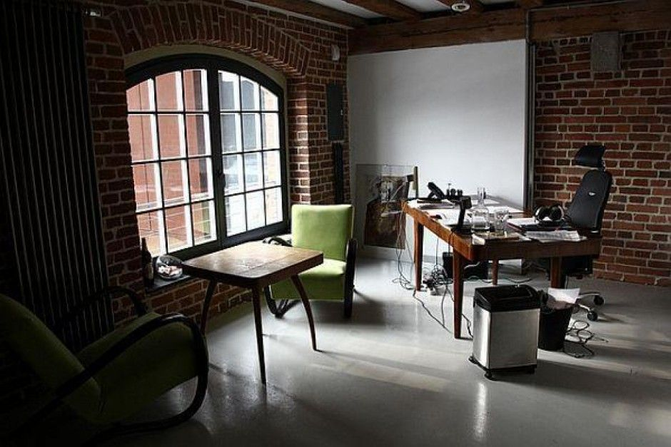 Brown Theme Cool Office Interior With Classic Style Brick Materials Wall  Design And Traditional Brown Wood