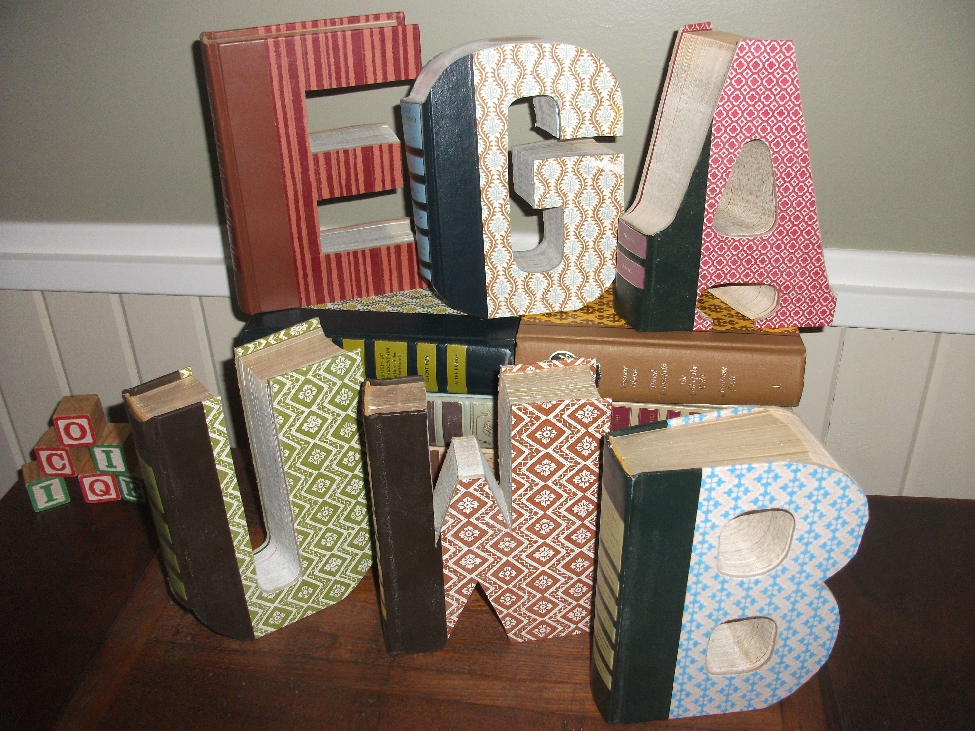 Letters Beautifully Carved From Vintage Reader S Digest Condensed Books Contact Me For Pricing And Shipping Custom W Book Letters Folded Book Art Book Crafts