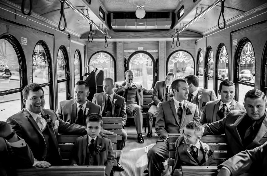 trolley as wedding transportation! wedding