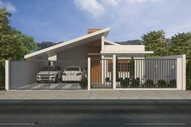 Plano de casa con garaje para dos coches arqtino for Modelo de casa con garaje