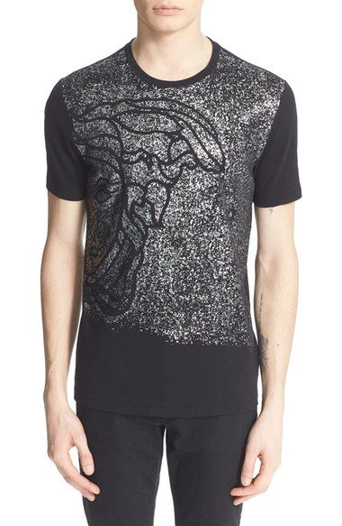 VERSACE  Medusa  Metallic Spray Graphic T-Shirt.  versace  cloth ... 51b749356cb