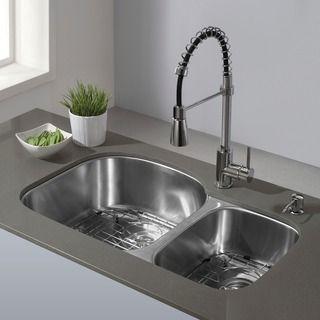 Ruvati 16 Gauge Stainless Steel Double Bowl 32 Inch Undermount Kitchen Sink With Undercoating Overstock Com Shoppi In 2021 Undermount Kitchen Sinks Sink Kitchen Sink