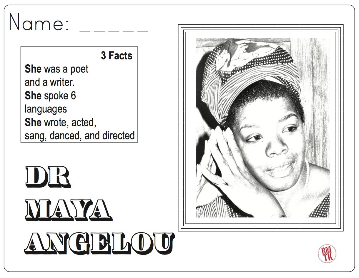 Maya Angelou Coloring And Facts Maya Angelou Teaching Kindergarten Kindergarten Teachers [ 946 x 1220 Pixel ]