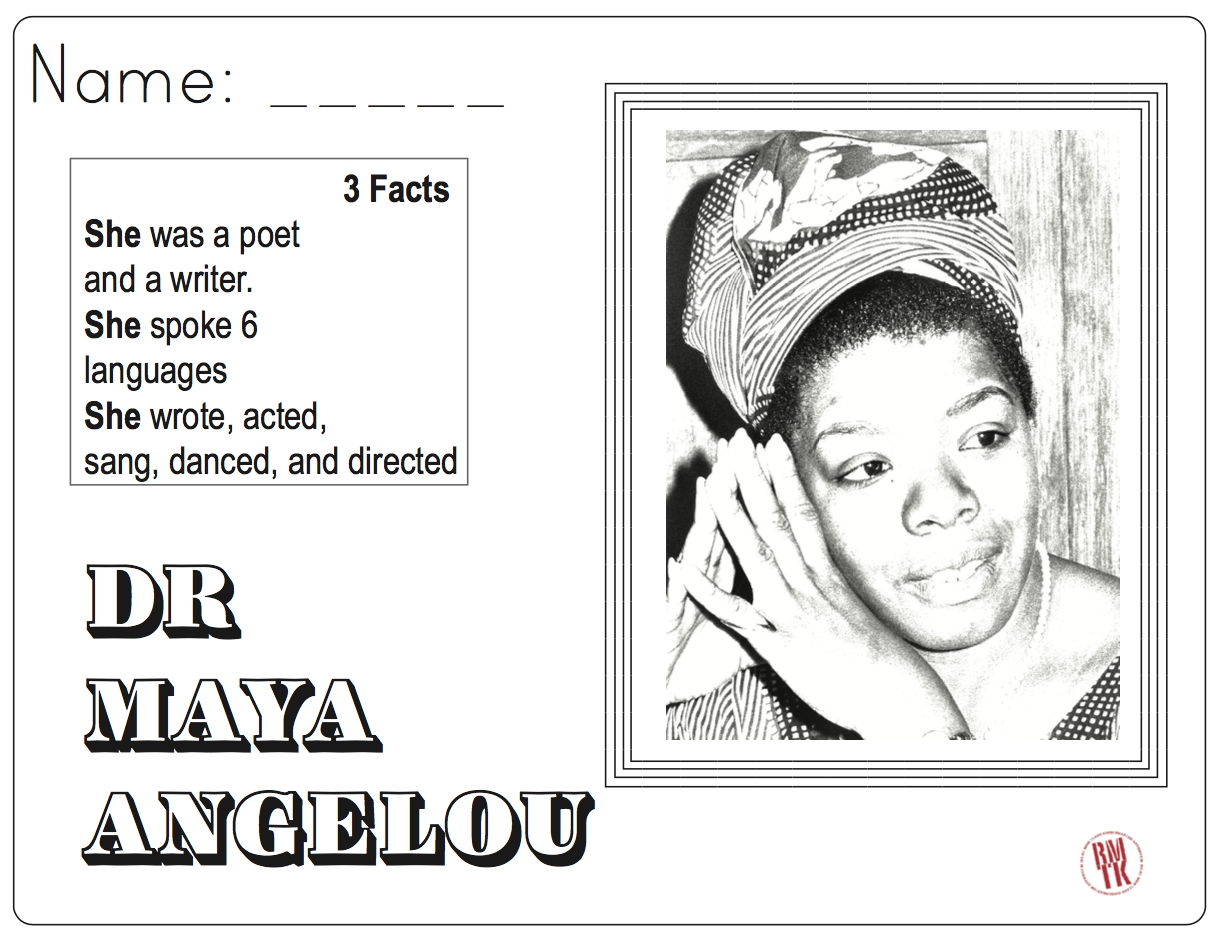 Maya Angelou Coloring And Facts