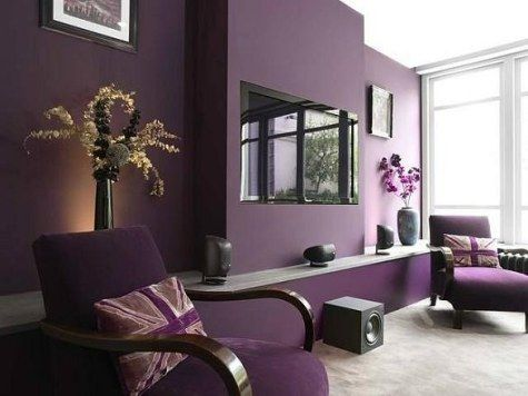 Purple Living Room Design   The Black TV And Purple Wall Combination Work  Well