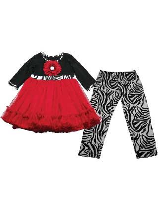 Red Tulle Babydoll Top with Zebra Print Pant Set