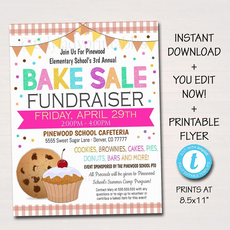 EDITABLE Bake Sale Flyer, Printable PTA, PTO Flyer, School Family Fundraiser Event, Team Sports Center, Church Printable Digital Invitation #bakesaleideas