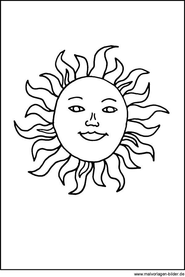malvorlage sonne  sonnengesicht  malvorlagen malvorlage