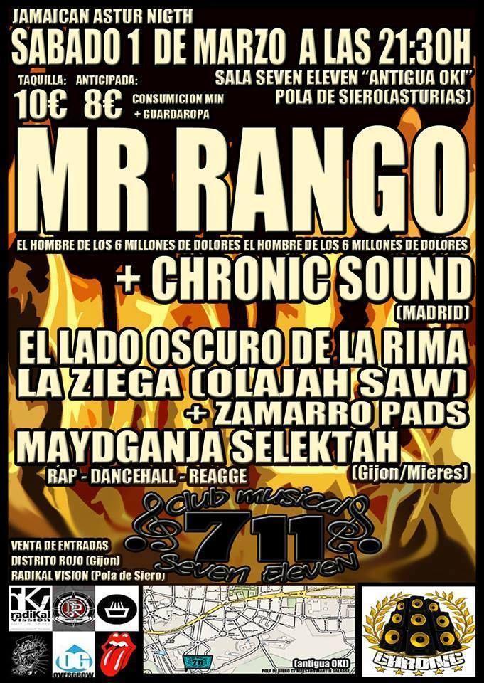 Sabado 1 De Marzo Jamaican Astur Night Mr Rango Chronic Sound El Lado Oscuro De La Rima La Ziega Maydganja Selektah Sal Lado Oscuro 1 De Marzo Concierto