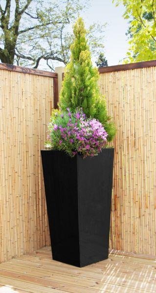 Charmant H90cm Gloss Tall Flared Square Fibreglass Planter In Black   By Primrose®