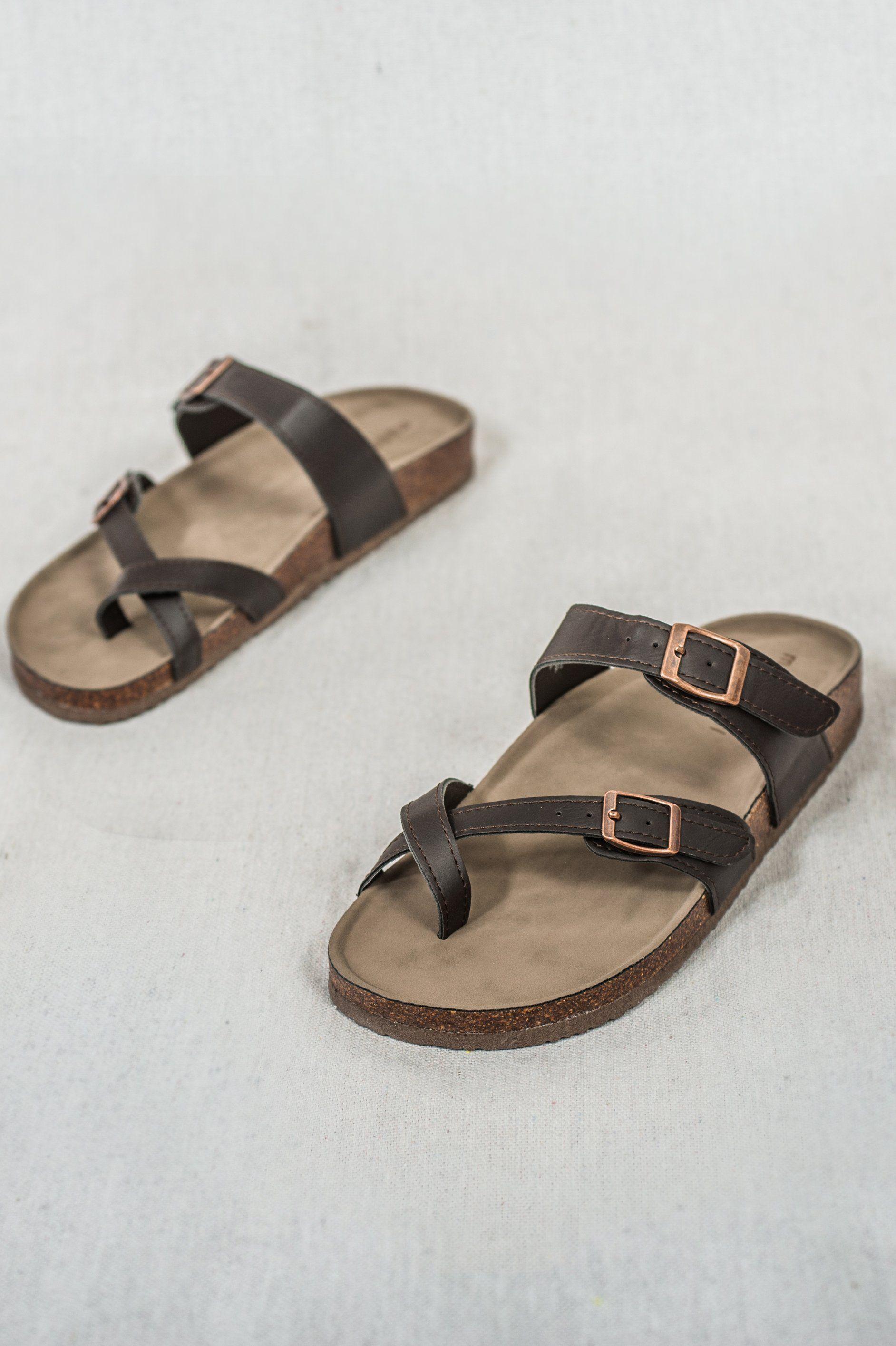 45cae355c Brycee Sandal - Women's Brown Cork Sole Toe Sandals, Birkenstocks, Knock  Off Birkenstock, Cute Brown Leather Sandals, Vegan Leather Women's Sandals,  ...