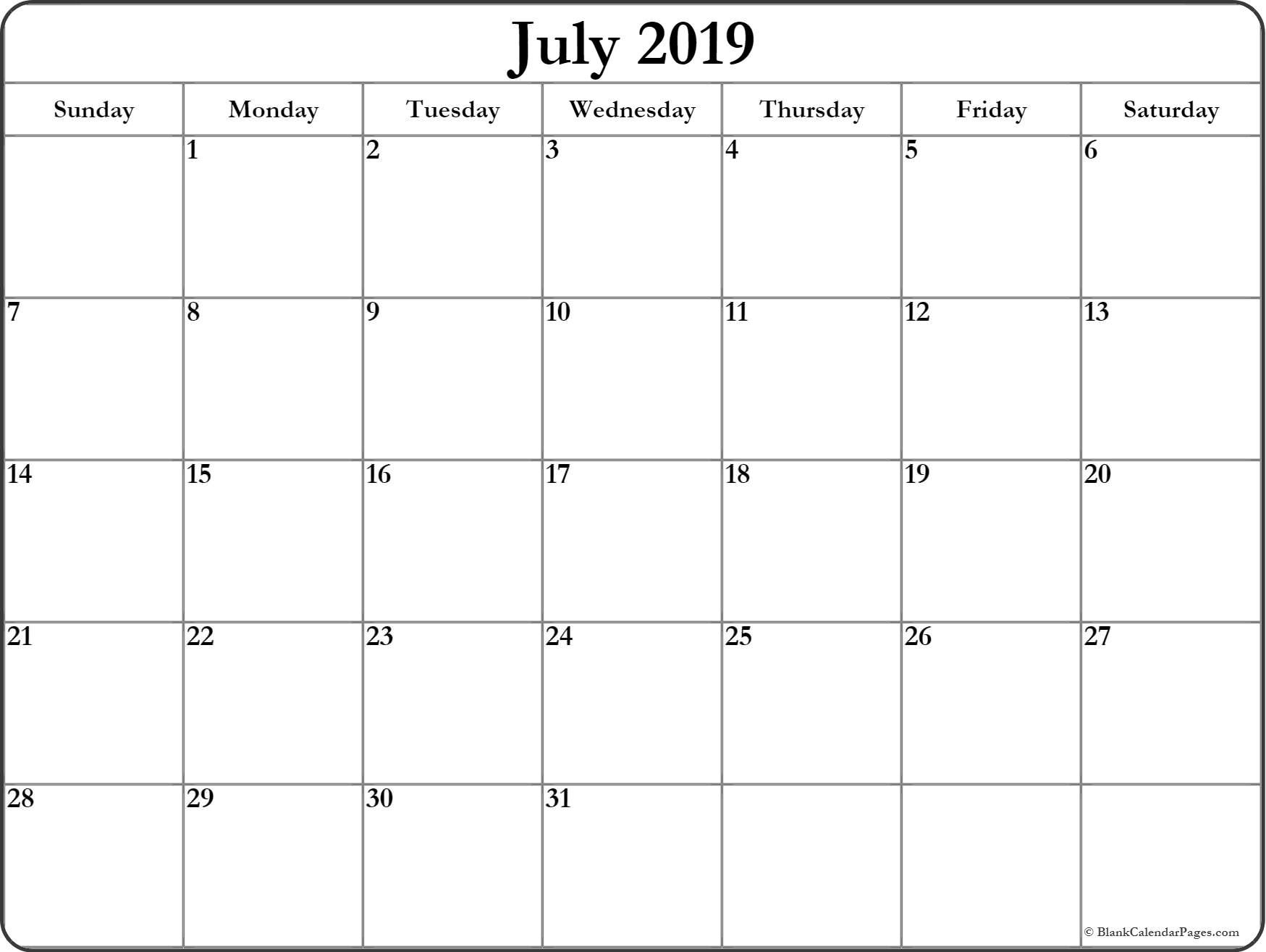 July 2019 Blank Calendar Templates Monthly Calendar Printable