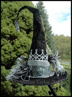 Black Tatuo Halloween Witch Hat Witch Costume Accessory for Halloween Christmas Party