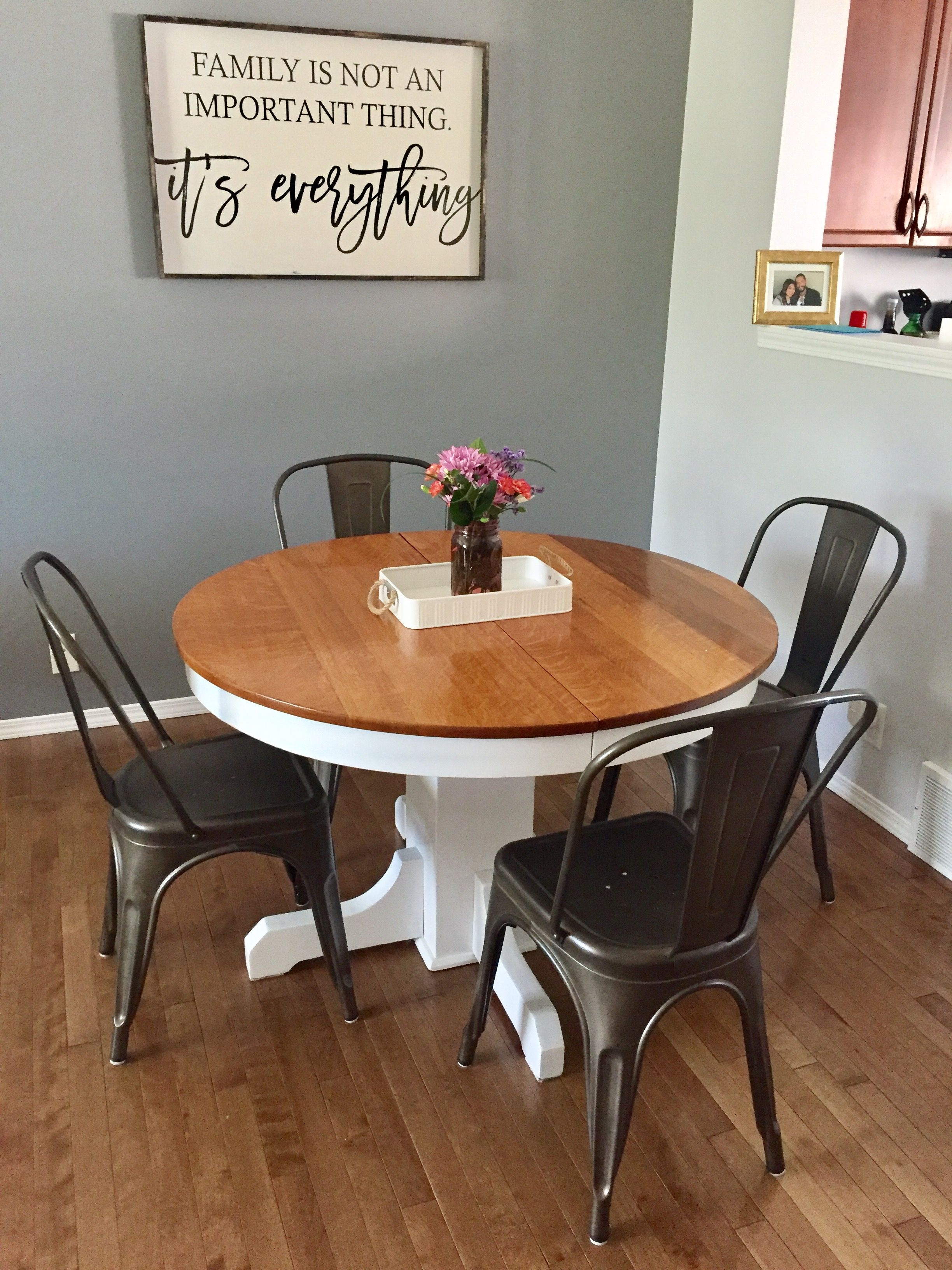 Farmhouse Dining Table Wooden Sign Refinished Table Vintage Chairs Farmhouse Dining Dining Table Lighting Dining Table