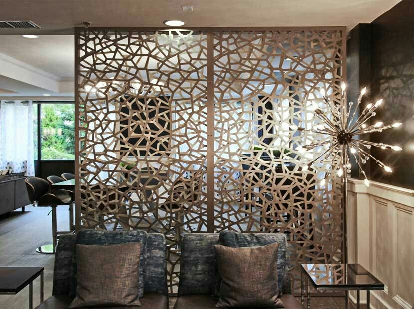 Architectural Screen Walls Double Layer Bronze Gold Aluminum