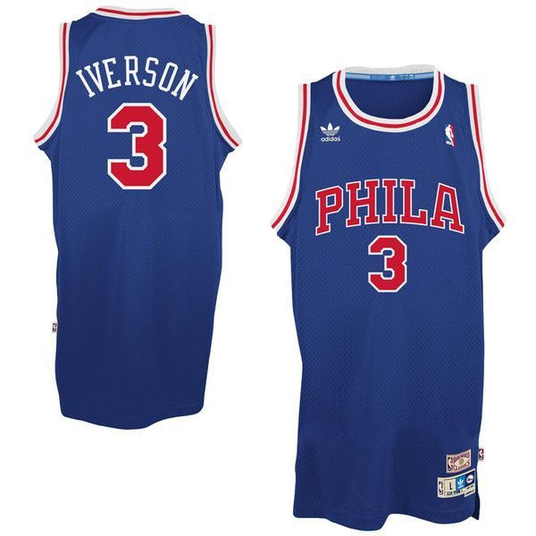 8ef0a4c33 Mens Philadelphia 76ers Allen Iverson 1996-1997 adidas Royal Blue Hardwood  Classics Swingman Jersey