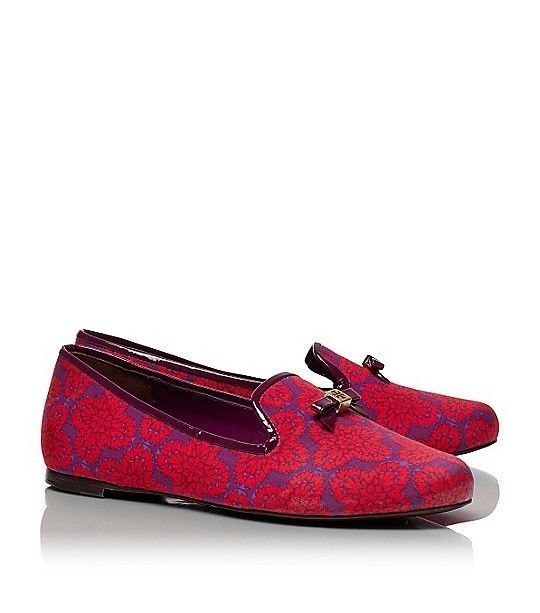 dec9bc5bb3e2 Tory Burch Chandra Purple   Red Printed Smoking Loafer Slipper Flat Shoes  sz 8  ToryBurch  LoafersMoccasins