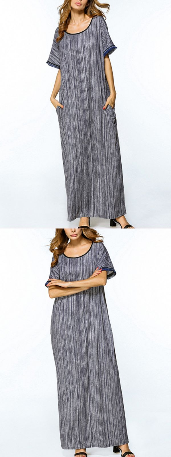 Casual women striped blue dress batwing sleeve short sleeve long