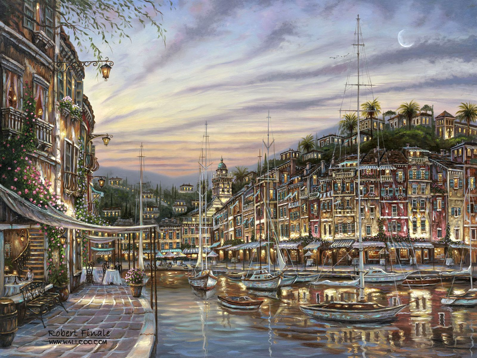 Robert_Finale_art_paintings_PortofinoDawn.jpg (1600×1200)