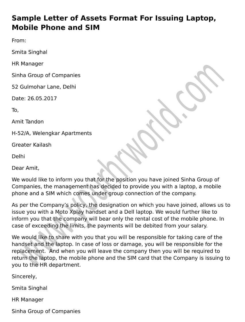 sample letter of assets format for issuing laptop  mobile