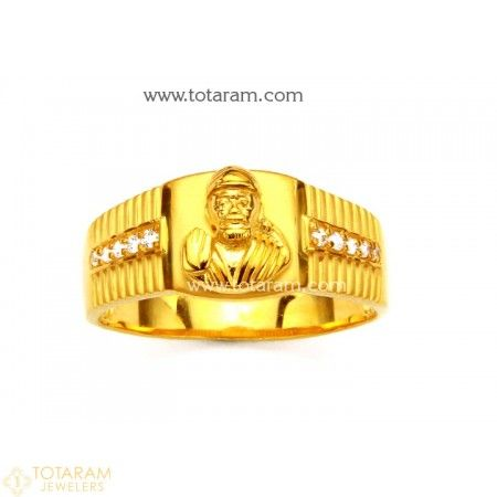 22K Gold SAI BABA Ring for Men With Cz 235 GR2967 Buy this