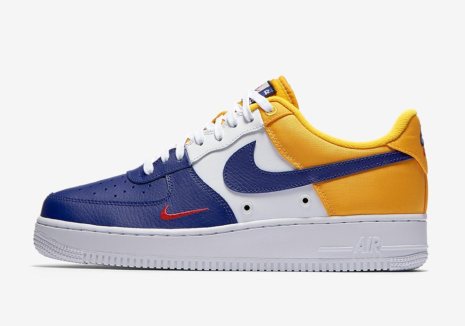 e52d0fa3c797 The Nike Air Force 1 Low Mini Swoosh (Style Code  823511-404) returns in a  new Deep Royal Blue University Gold-Varsity Red inspired by FC Barcelona.