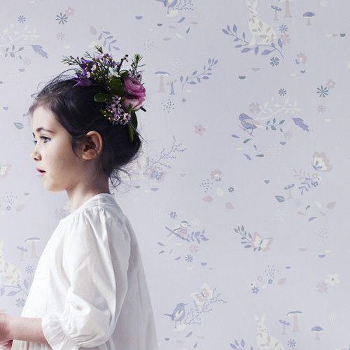 HIBOU HOME - CHILDREN'S WALLPAPER- SECRET GARDEN- BLUSH PINK
