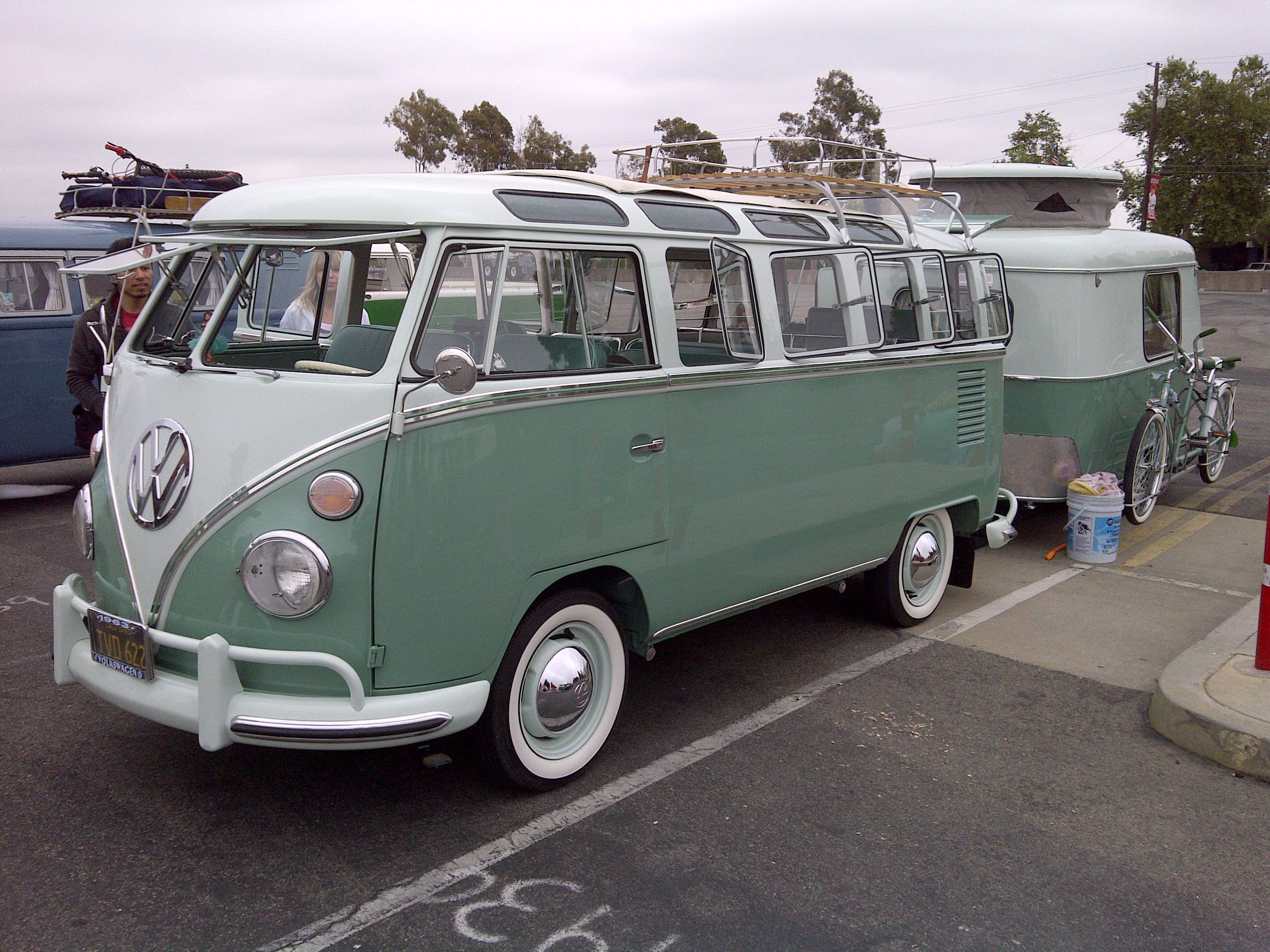 Mint Condition 23 Window Vw Bus With Safari Windows Rag Top And Matching Camper Trailer Volkswagen Bus Vw Bus Vintage Vw