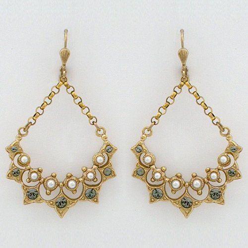 Vintage chandelier earrings with pearls la vie parisienne 5600 vintage chandelier earrings with pearls la vie parisienne 5600 earrings hang at just over mozeypictures Images