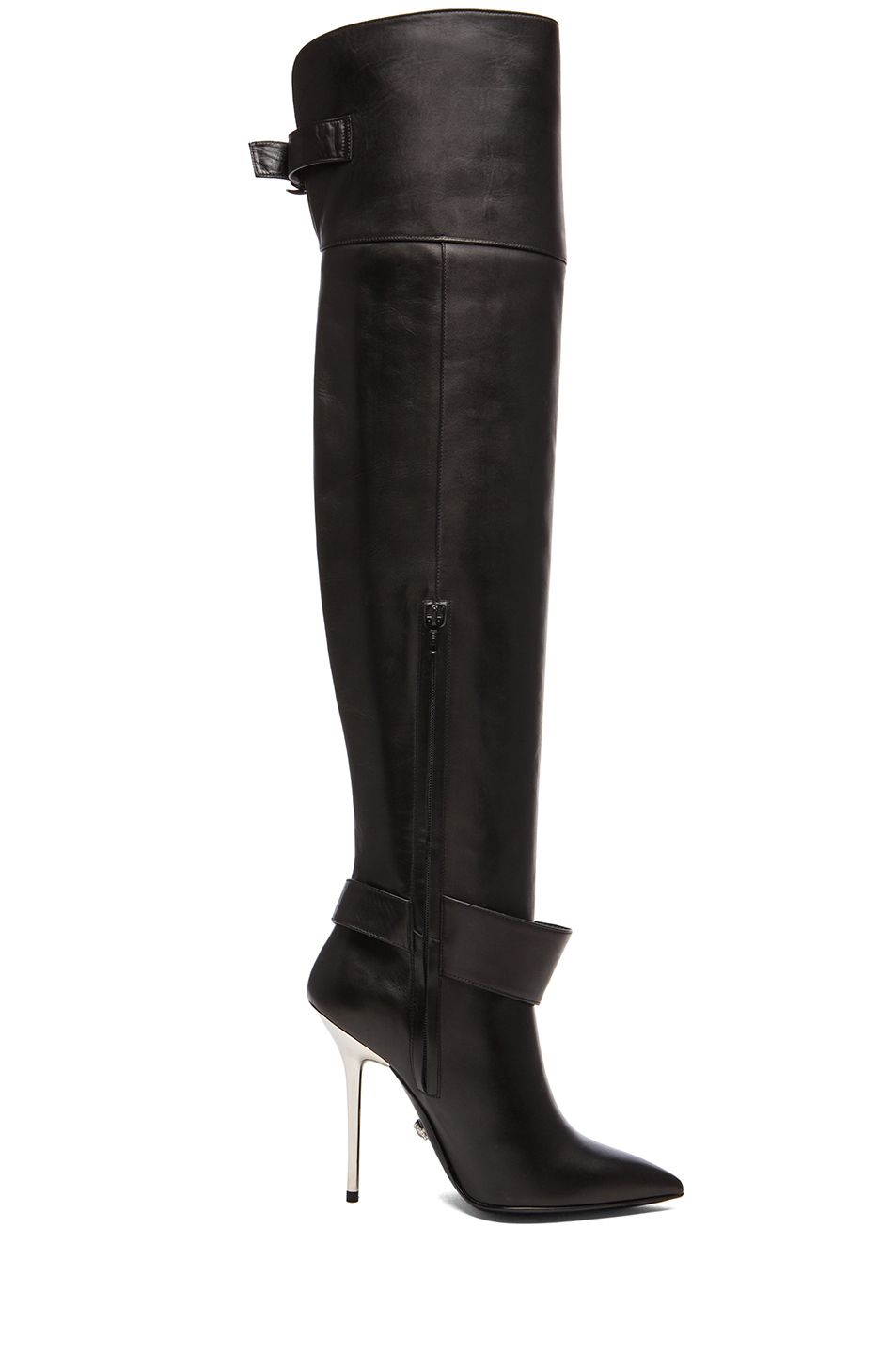 Image 5 of VERSACE Fringe Thigh High Leather Boots in Black