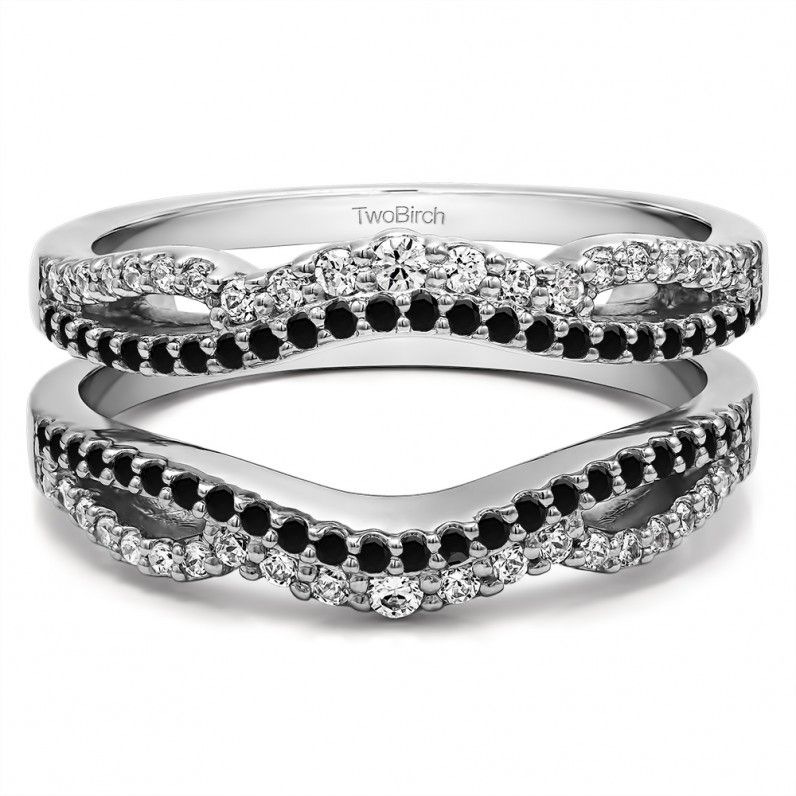 Black And White Diamond Double Infinity Wedding Ring Guard