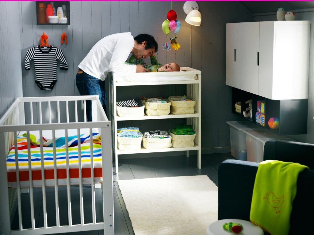 Nursery idea: get an open shelf Ikea changing table and feature ...