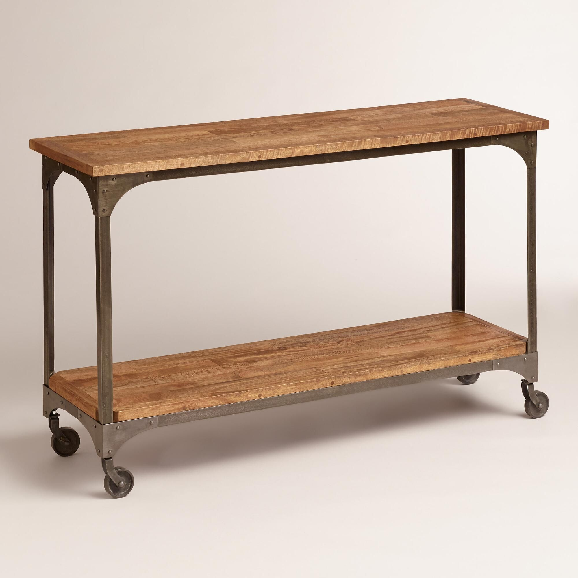 Wood And Metal Aiden Console Table Rustic Industrial And
