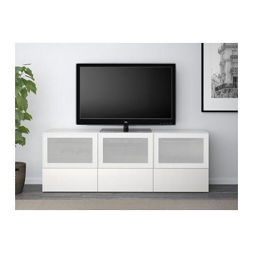 BESTÅ Tv-taso/ovet+laatikot - valkoinen/Selsviken korkeakiilto valkoinen/huurrelasi, liukukisko ponnahduslaatikkoon - IKEA