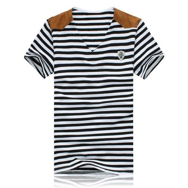 Fashion Stripe Design Suede Splicing V-Neck Short Sleeve Slimming Polyester T-shirt For Men