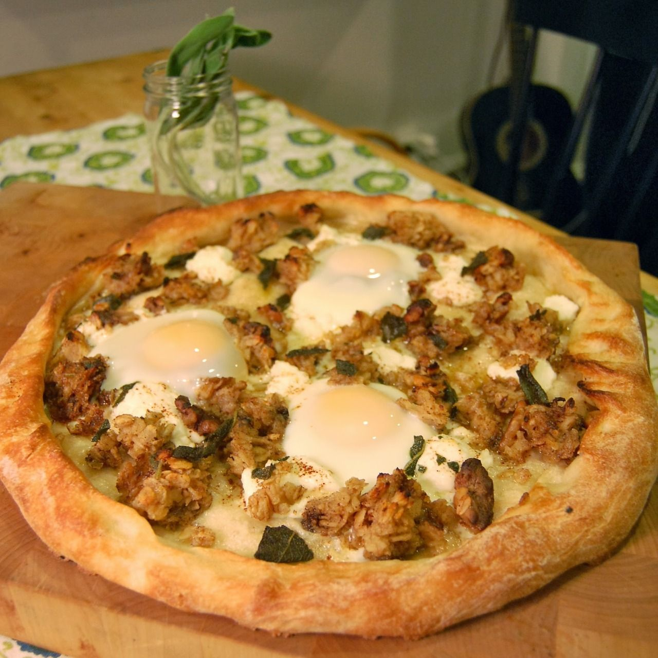 #PizzaTuesday Baked Oatmeal & Eggs #Pizza: Ricotta, baked oatmeal with walnuts & cinnamon, brown butter with fried sage & lemon juice, baked eggs