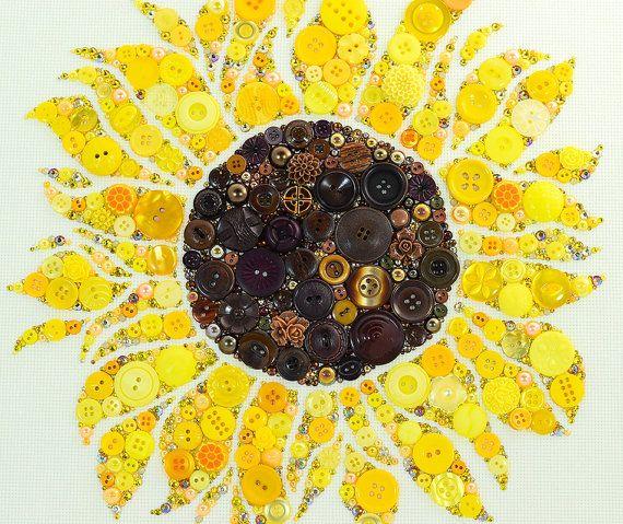 MADE TO ORDER Sunflower Button Art, Custom Order Button Artwork ...