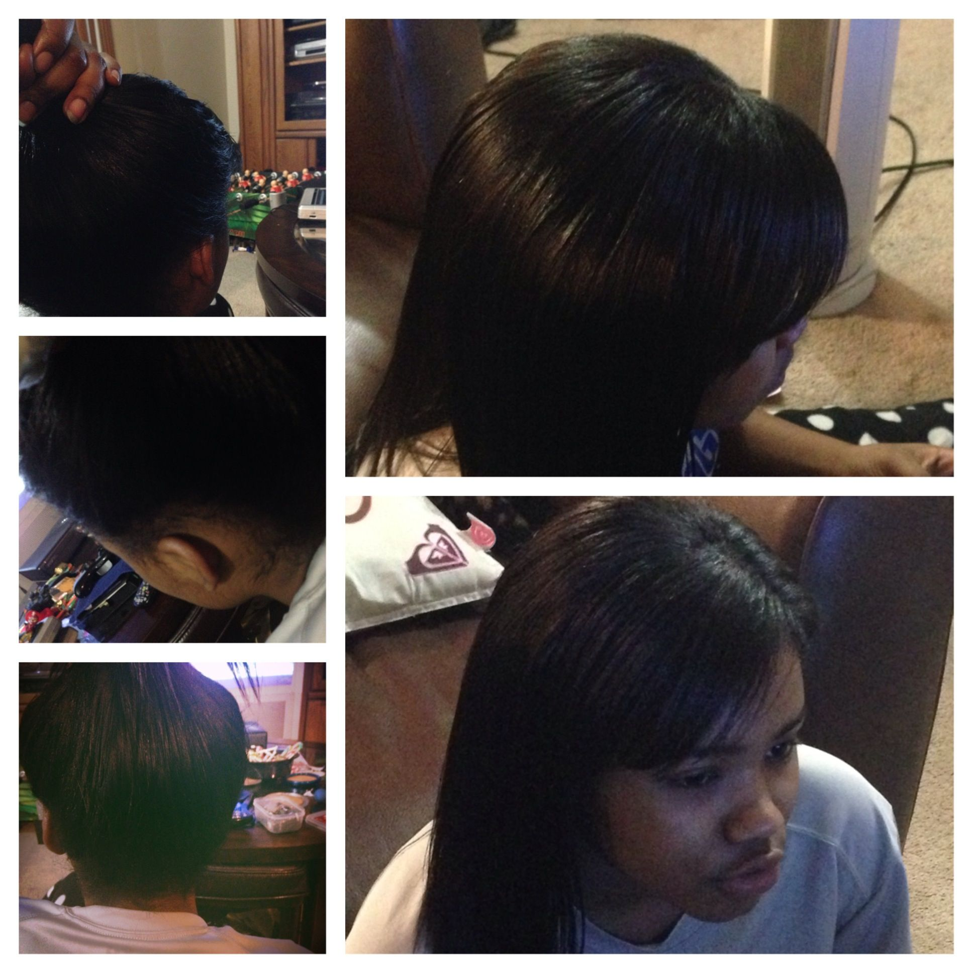 sew in with leave out and high ponytail Hair I did