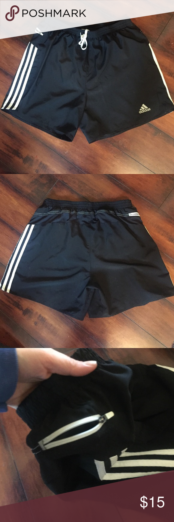 Adidias | Climalite Shorts Black drawstring 'response' shorts with side zipper, with mesh inner brief. 100% polyester. Gently used, good condition. Adidas Shorts