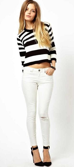 striped crop top + white denim
