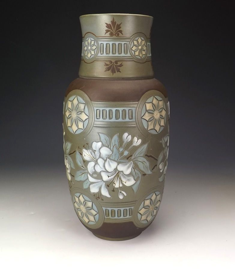 Beautiful Silicon Ware Stoneware Art Nouveau Vase. Produced in the late 19th or early 20th Century by Doulton Lambeth Pottery from England. There are flake chips to three of the flower panels around the exterior of the vase (can be seen in photographs above and below). | eBay!