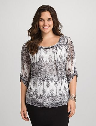 roz & ALI™ Plus Size Pleated Scroll Print Blouse