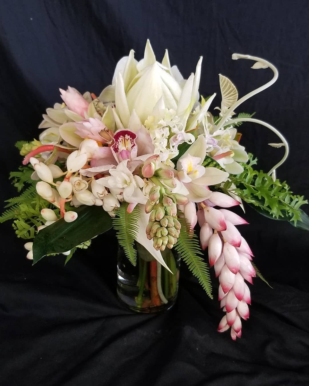 This Bouquet Was Such A Joy To Desgin It Includes A Rare White King Protea Two Types Of Shell Ginger Flowers Two T Pink Ginger Ginger Flower Wedding Flowers
