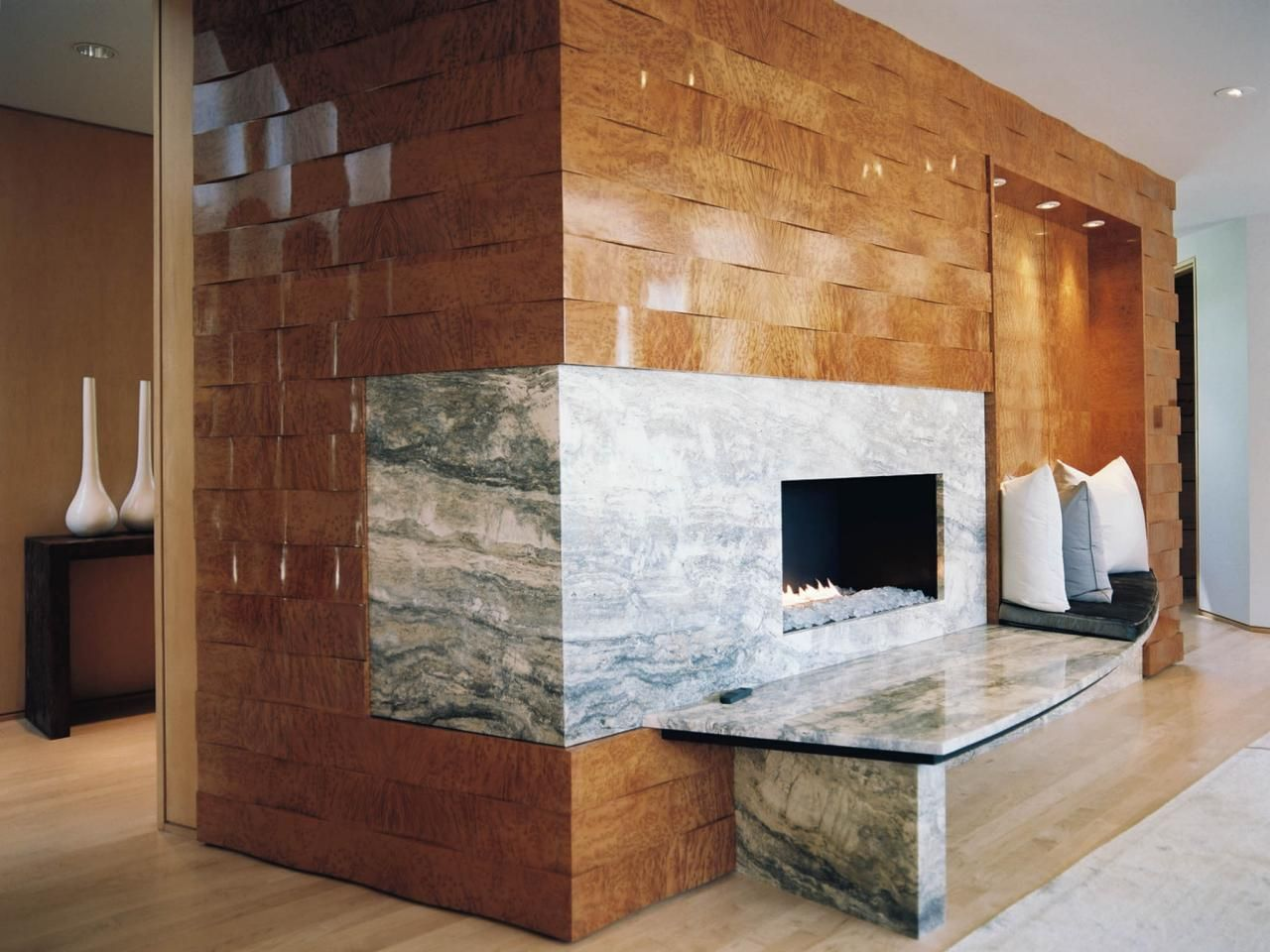 Contemporary Photo Woven wood walls and a