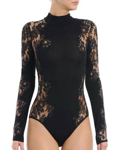 I0V9G I.D. Sarrieri Noir Comme La Robe Long-Sleeve Lace Bodysuit ... 46fbb06df